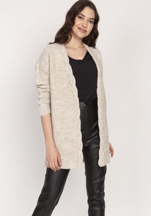 Ciepły sweter - kardigan, SWE127 beż