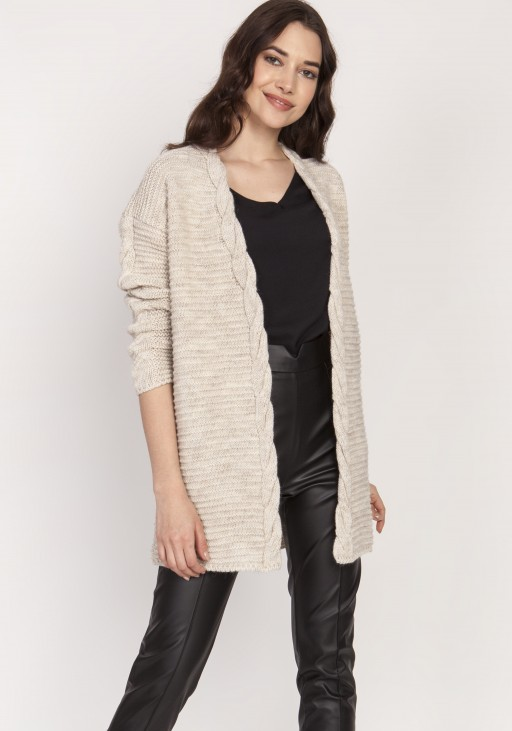 Warm sweater - cardigan, SWE127 beige