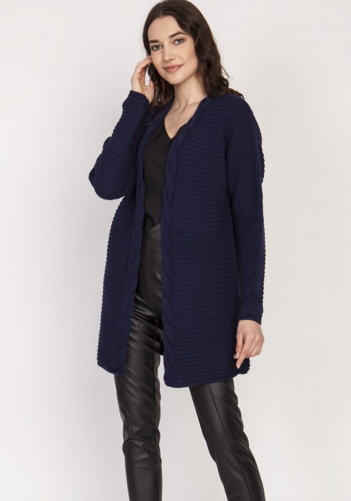 Warm sweater - cardigan, SWE127 navy