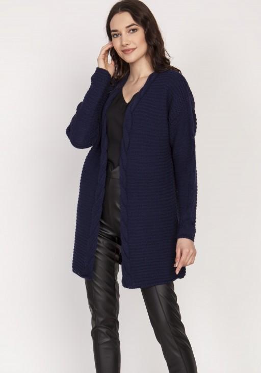 Warm sweater - cardigan, SWE127 navy