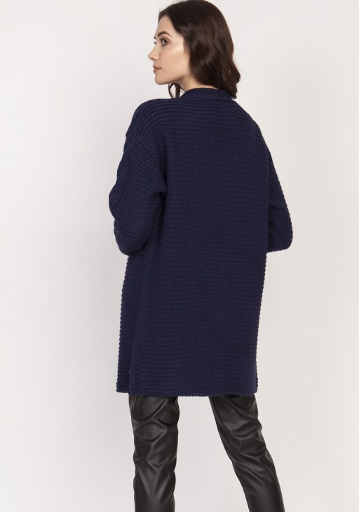 Ciepły sweter - kardigan, SWE127 granat