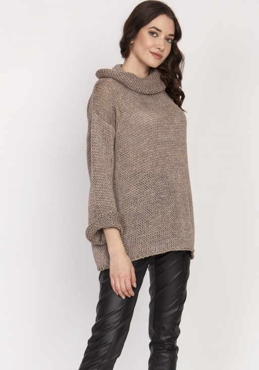 Luźny sweter, golf - SWE128 tabak