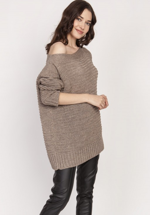 Loose sweater, SWE129 tabak