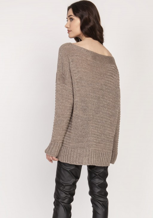 Luźny sweter, SWE129 tabak