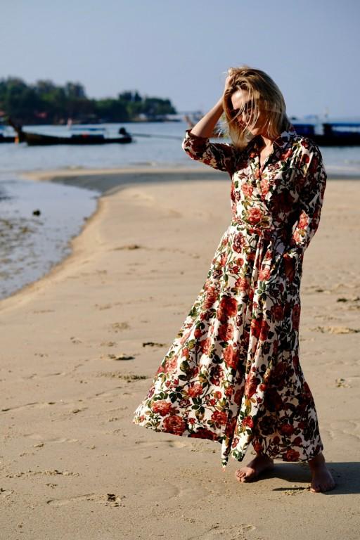 Kopertowa, różana sukienka z długim paskiem