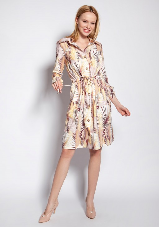 Buttoned dress, SUK184 abstract leaves
