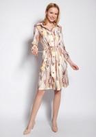 Sukienka zapinana na guziki, SUK184 abstrakcyjne liście