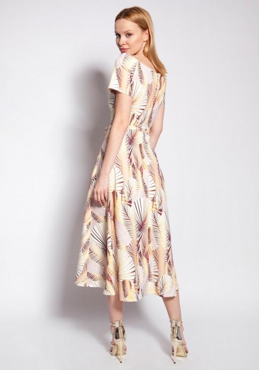 Sukienka z odkrytymi ramionami, SUK182 abstrakcyjne liście