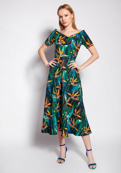 Sukienka z odkrytymi ramionami, SUK182 bambus