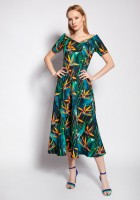 Dress with bare shoulders, SUK182 abstract leaves