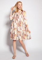 Sukienka z falbankami, SUK180 abstrakcyjne liście