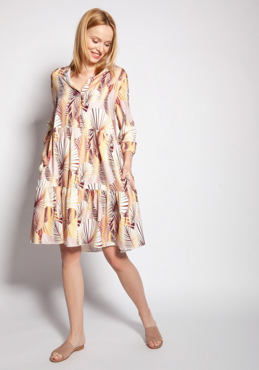 Dress with frills, SUK180 abstract leaves