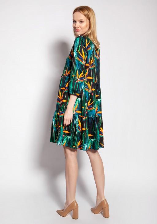 Sukienka z falbankami, SUK180 bambus