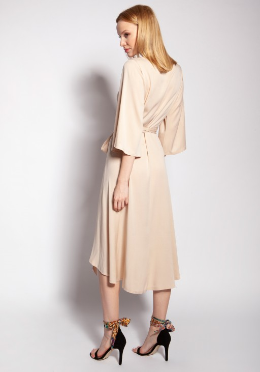 Sukienka kopertowa, SUK185 beż