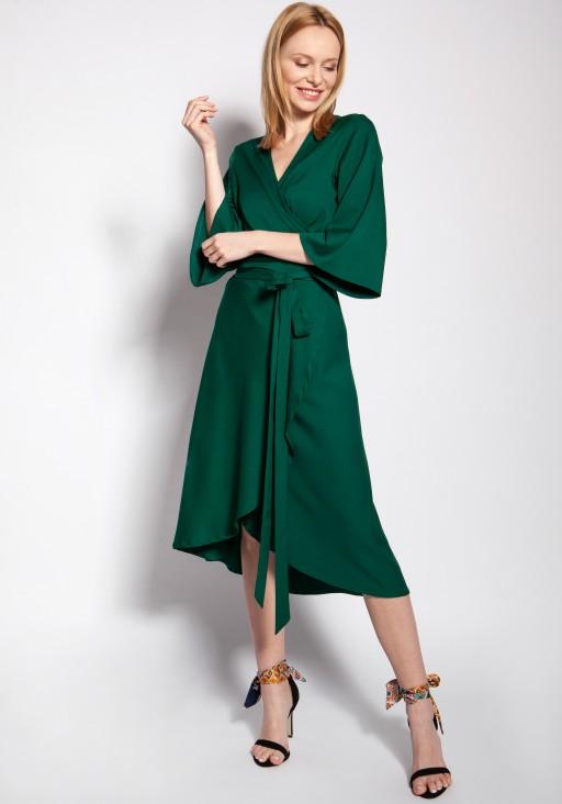Sukienka kopertowa, SUK185 zielony