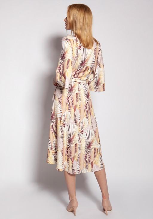 Sukienka kopertowa, SUK186 abstrakcyjne liście