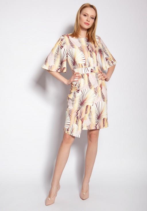Sukienka dopasowana, SUK188 abstrakcyjne liście