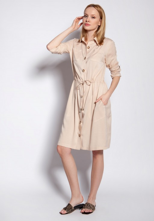 Buttoned dress, SUK183 beige