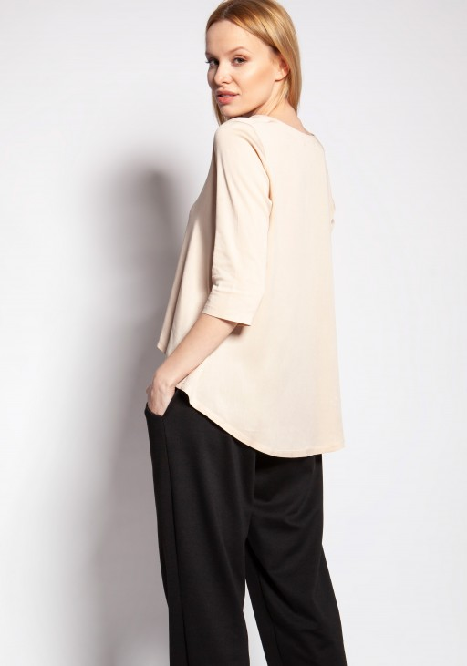 Blouse with longer back, BLU146 beige