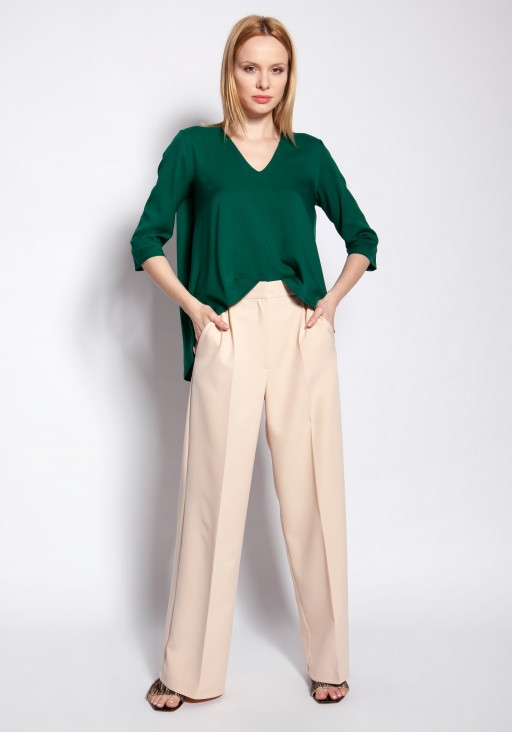 Blouse with longer back, BLU146 green