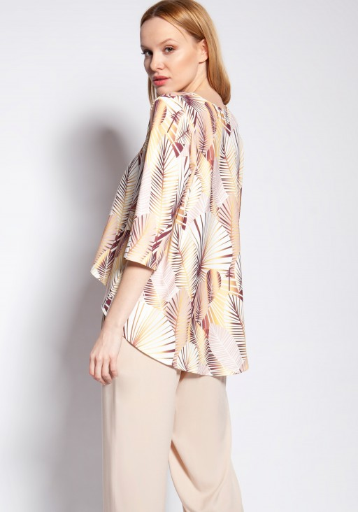 Blouse with longer back, BLU147 abstract leaves