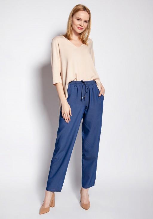 Luźne spodnie, SD122 abstrakcyjne liście