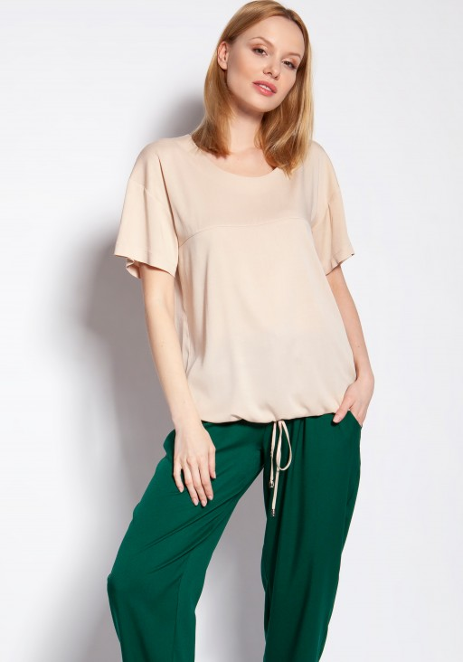 Blouse with short sleeves, BLU144 beige