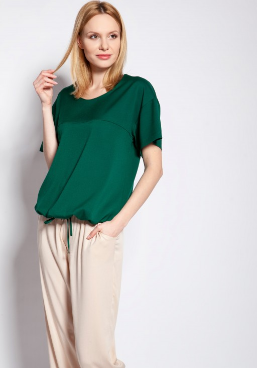 Blouse with short sleeves, BLU144 green