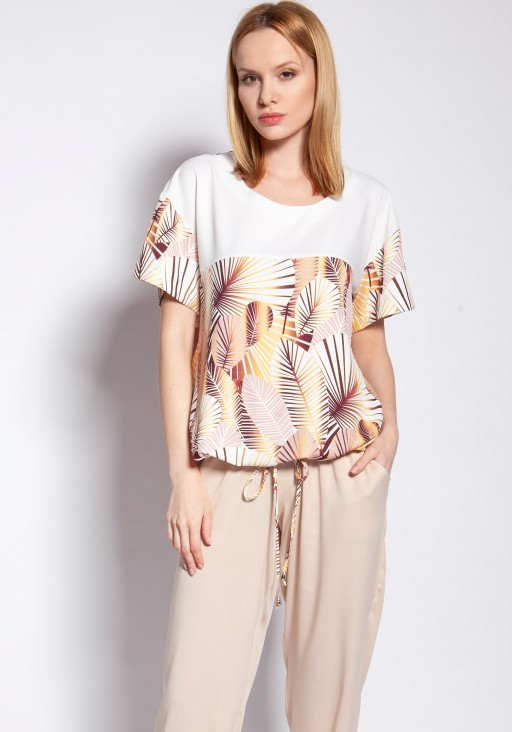 Blouse with short sleeves, BLU145 abstract leaves