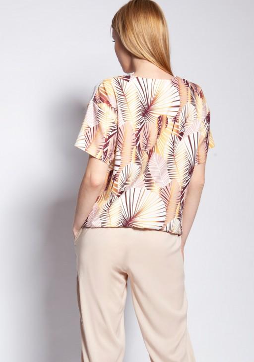 Bluzka z krótkim rękawem, BLU145 abstrakcyjne liście