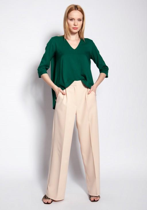 Spodnie klasyczne z wysokim stanem, SD111 beż
