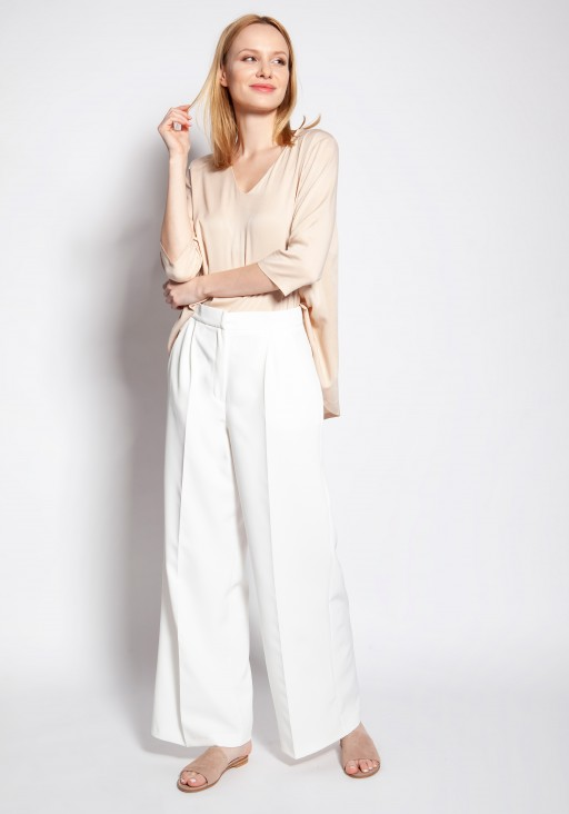 Spodnie klasyczne z wysokim stanem, SD111 ecru