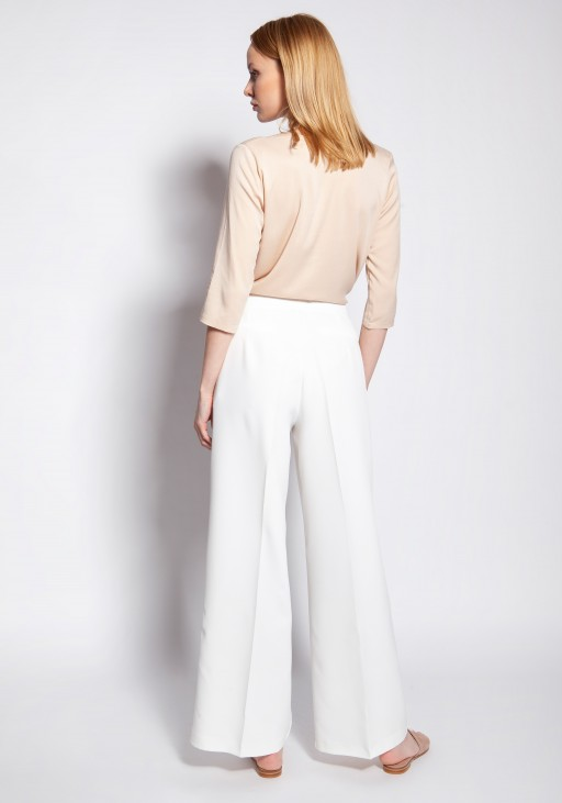 Classic trousers with high-waisted, SD111 ecru