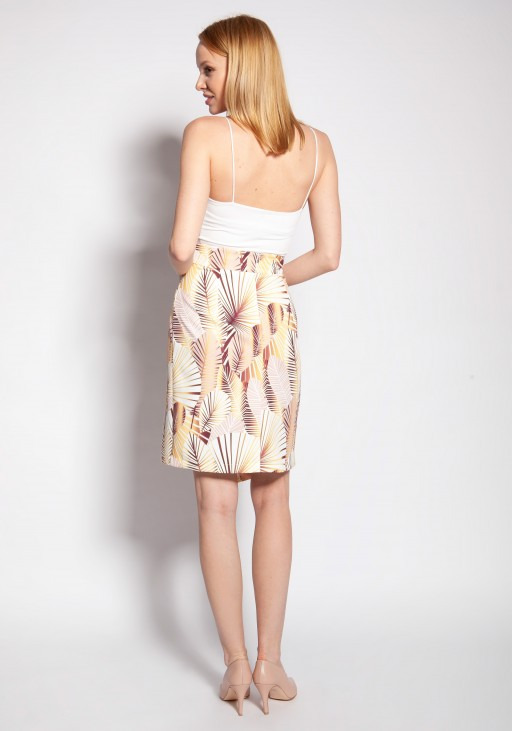 Fitted skirt, SP127 abstract leaves
