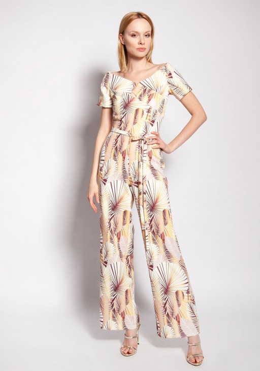Jumpsuit with a carmen neckline, KB117 abstract leaves