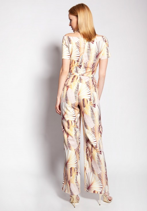 Jumpsuit with a carmen neckline, KB116 abstract leaves