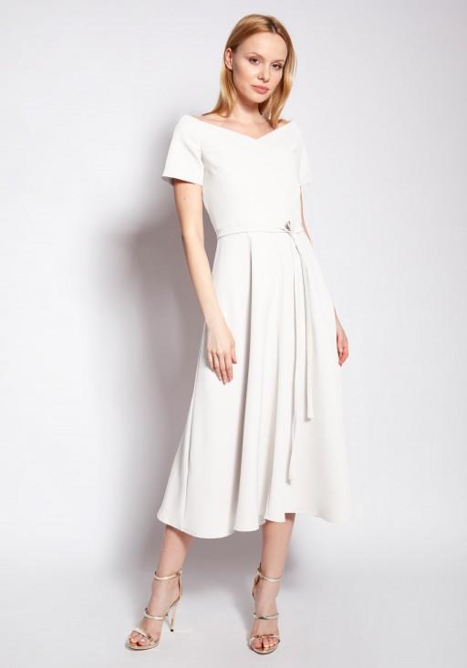 Sukienka trapezowa midi, SUK181 ecru