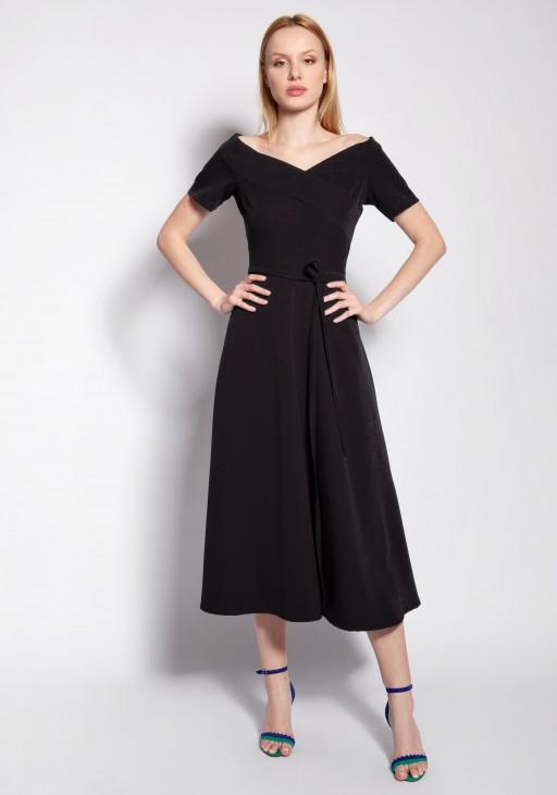 Sukienka trapezowa midi, SUK181 czarny