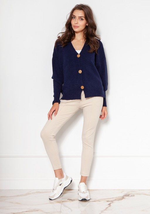 Sweater with large buttons SWE131 navy