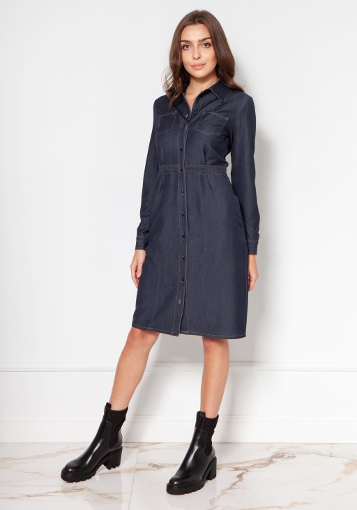 Denim dress with buttons and a collar SUK132 jeans