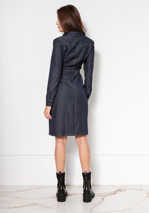 Rozpinana, jeansowa sukienka koszulowa, SUK132 jeans