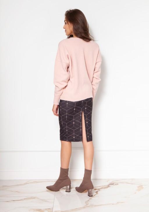 Sweter na duże guziki SWE131 róż