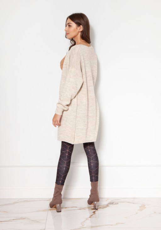 Light, long cardigan SWE137 beige