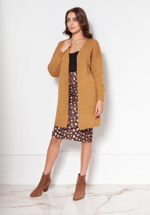 Light, long cardigan SWE137 mustard