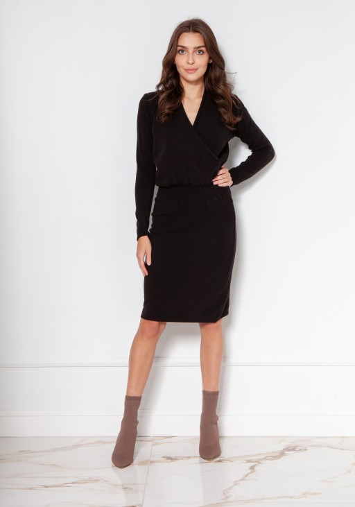 Sweater dress with an envelope neckline SWE136 black