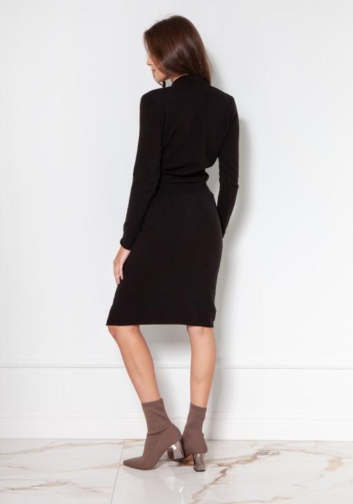 Swetrowa sukienka z kopertowym dekoltem SWE136 czarny