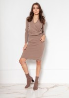 Sweater dress with an envelope neckline SWE136 beige