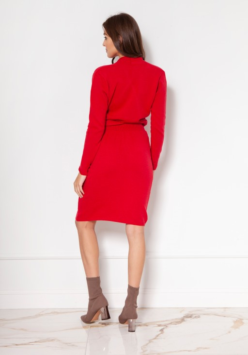 Sweater dress with an envelope neckline SWE136 red