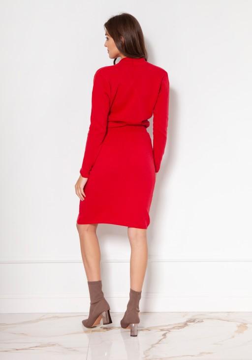 Swetrowa sukienka z kopertowym dekoltem SWE136 czerwony