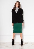 Buttoned sweater with puff sleeves SWE134 black